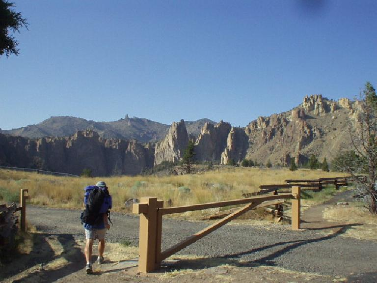 In the evening, we went to Smith Rock (~35-40 minutes from downtown Bend) where there is some world class climbing.  Here is Hunza leading the way.