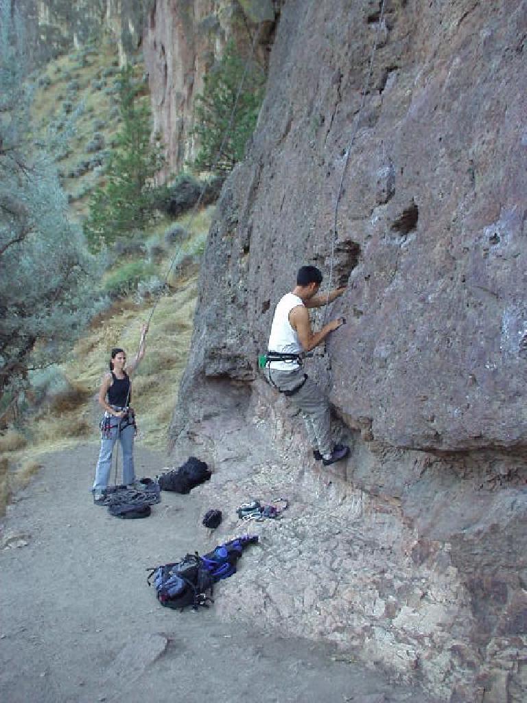 Felix Wong begins his first climb at Smith!