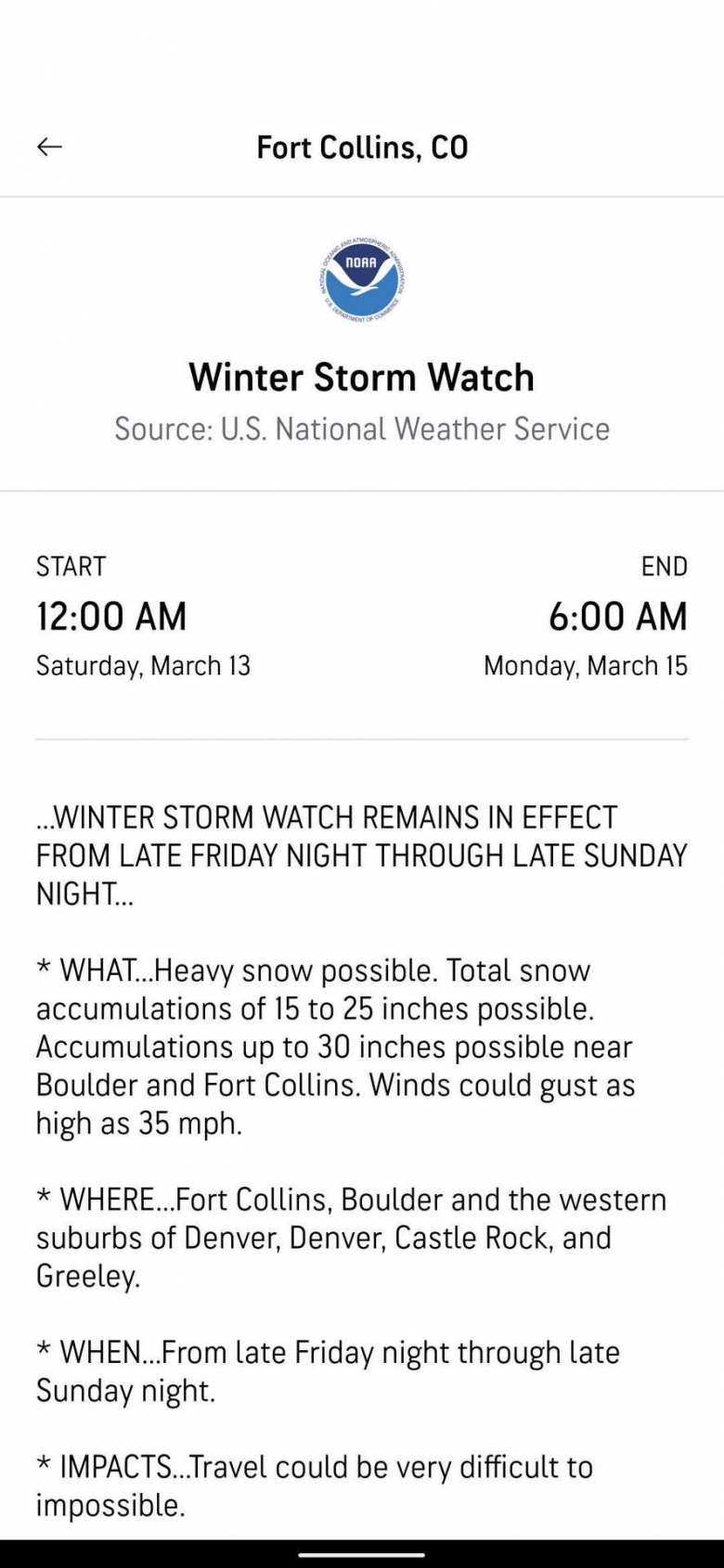 Winter Storm Watch by U.S. National Weather Service for Fort Collins on March 13, 2021