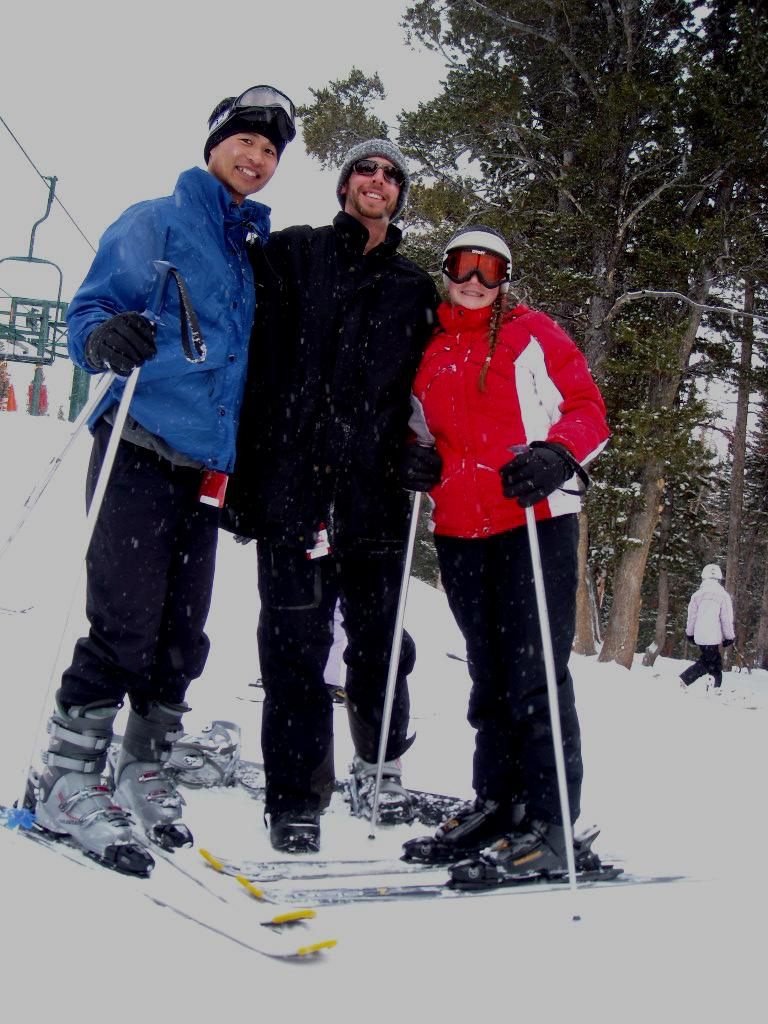 Felix, Jon and Ryan all geared up to ski at the Snowy Range Ski Resort.