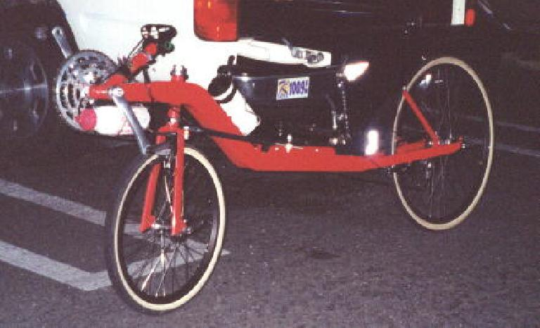 Felix Wong's red Reynolds Wishbone recumbent, 2000 Solvang Double Century