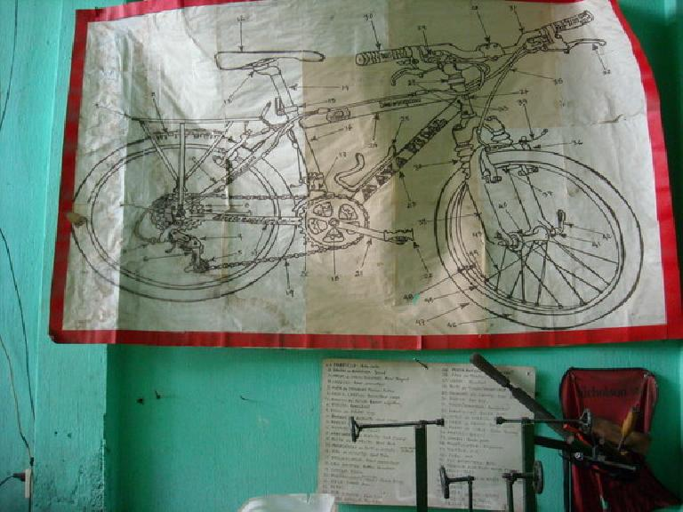 A chart in Maya Pedal labeling the parts of a bicycle in Spanish.