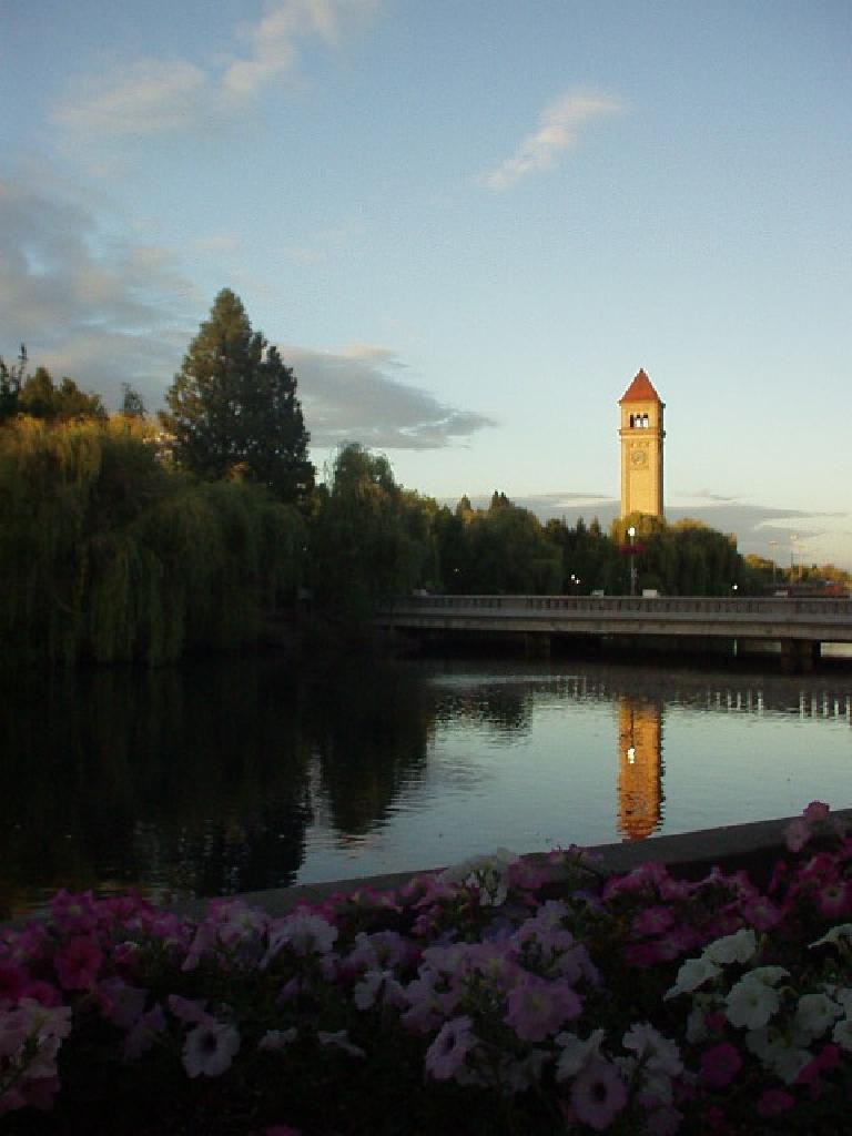 The clock tower at Riverfront Park.
