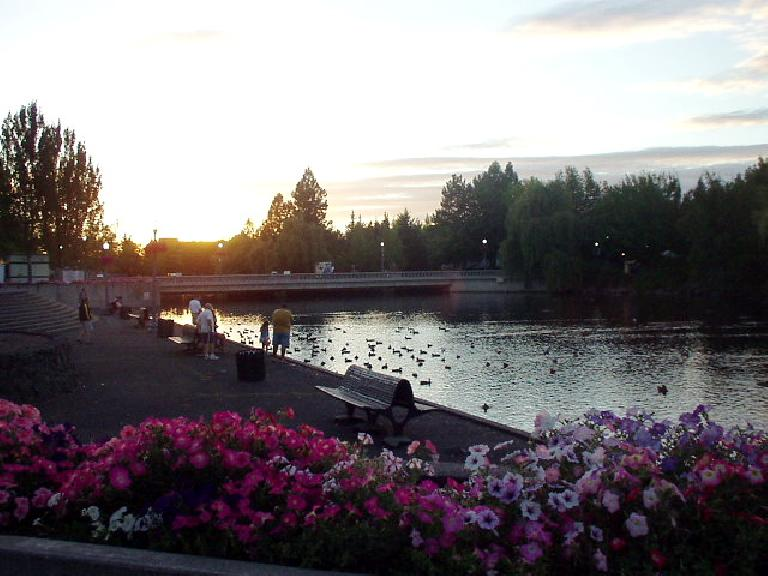 Sunset over Riverfront Park.