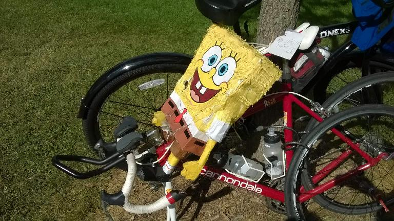 I rode my bike over to the Fort Collins Running Club's Annual Picnic and went for a short run. By the time I was ready to ride home, SpongeBob was on my bike! (September 7, 2014)