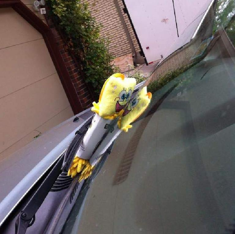 A Chinese SpongeBob was caught peeking into Alene's vehicle. (May 30, 2014)