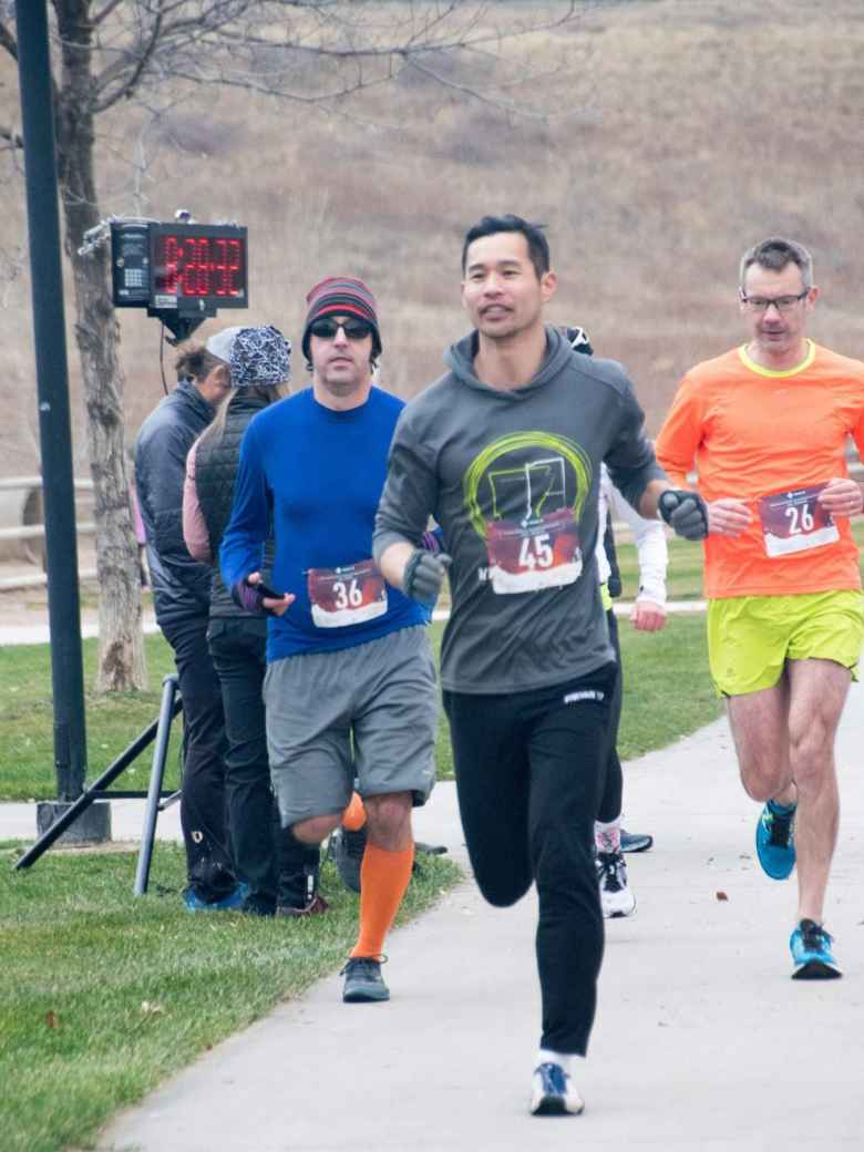 Felix Wong leading his wave at the start of the Spring Canyon Park 5k.