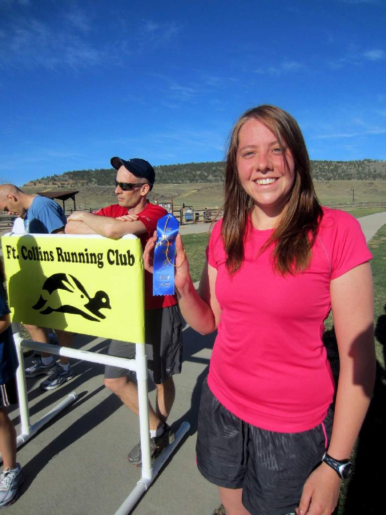 Kelly Cook, blue ribbon, Fort Collins Running Club, 2012 Spring Canyon Park 5k Tortoise & Hare run