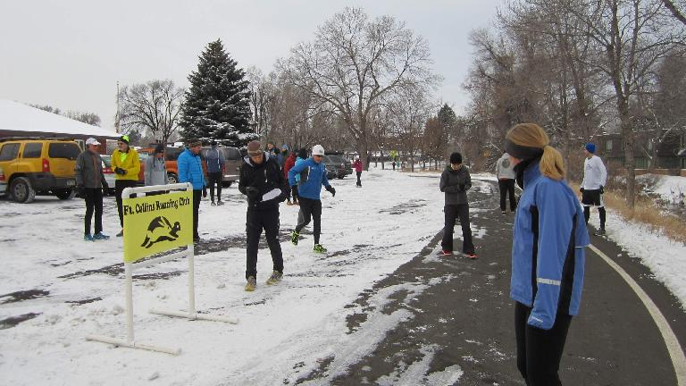 Runners waiting to start the Spring Park 6k.