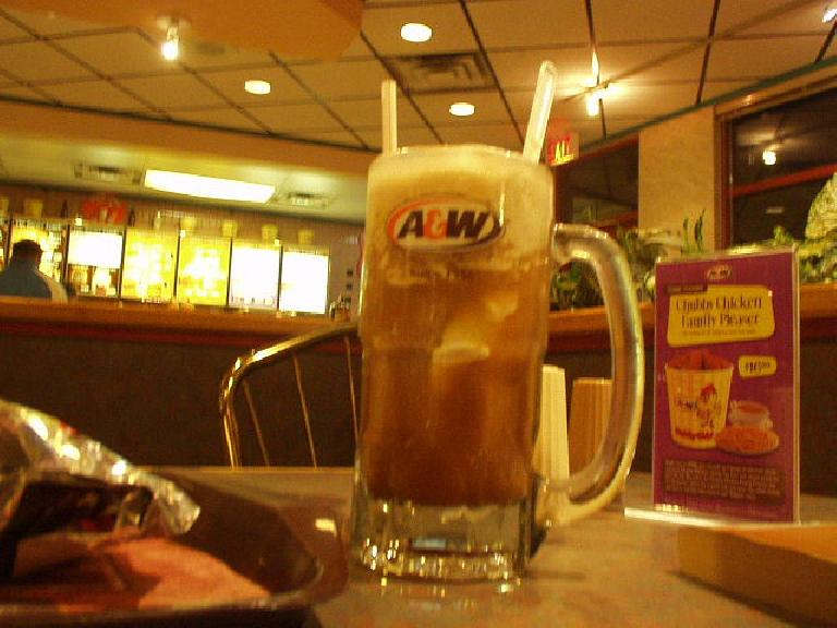 Having had something of a caloric deficit all weekend, I treated myself to a root beer float.  Yes, A&W Root Beer is here (which, may I point out, was founded in Lodi, California, near where I grew up!)