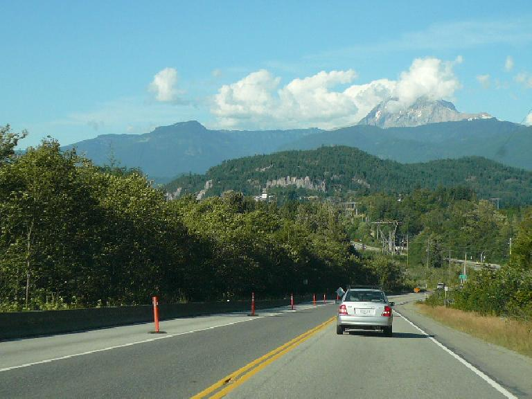 Going north on Highway 99 to Squamish, we could see Whistler Mountain in the distance