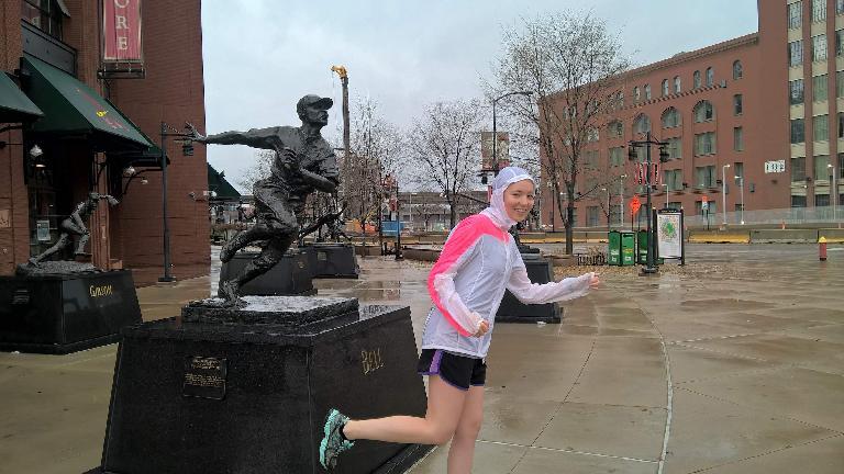 Maureen, running pose, baseball player statue, Busch Stadium