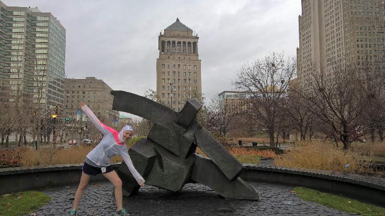 Maureen, yoga pose, statue, Citygarden