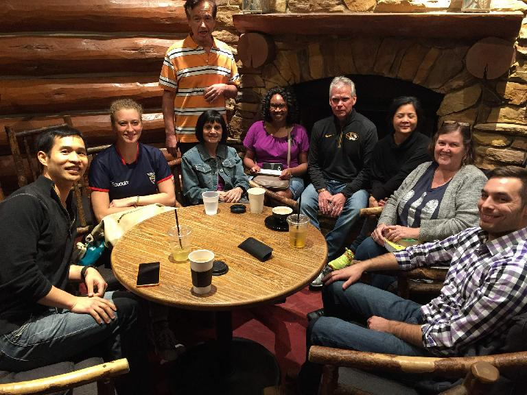 Felix Wong, Alicea, Jorge, Diana, Ashley, Kevin, [two women], and Ben at the St. Louis Spanish Meetup.