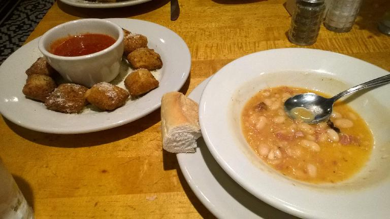 Toasted ravioli and bean soup at Charlie Gitto's.