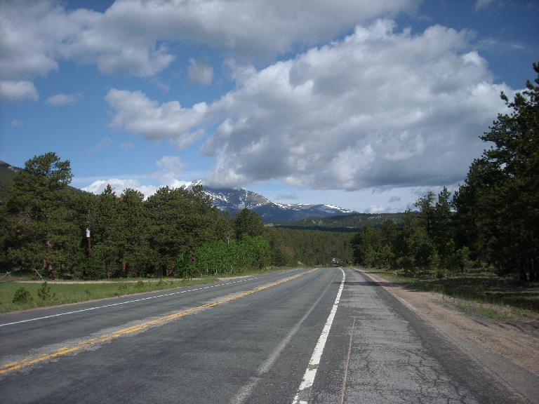 [Mile 87, 9:10am] Long's Peak coming into view on the Peak-to-Peak highway.