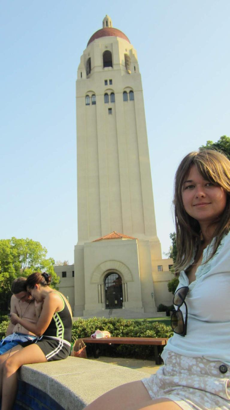 Katia and the Hoover Tower.