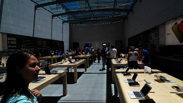 Inside the Palo Alto Apple Store.