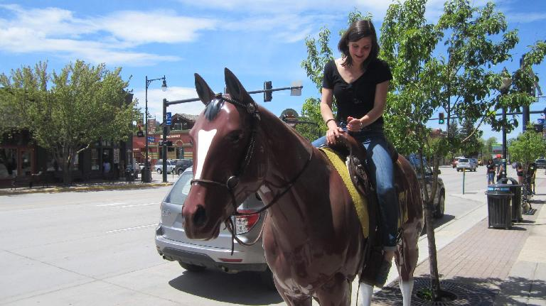 Eli on a horse, downtown Steamboat Springs