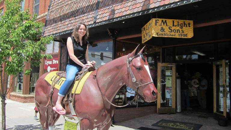 Maureen on a horse, downtown Steamboat Springs