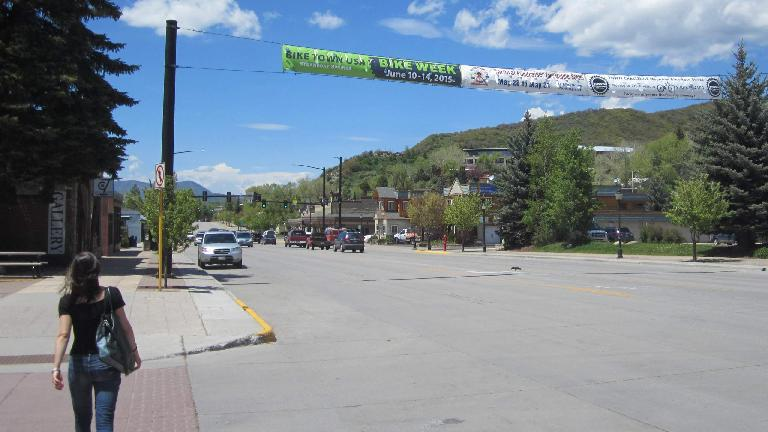Eli, downtown Steamboat Springs, Bike Week banner