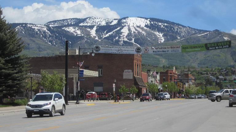 mountains, Bike Week banner, downtown Steamboat Springs