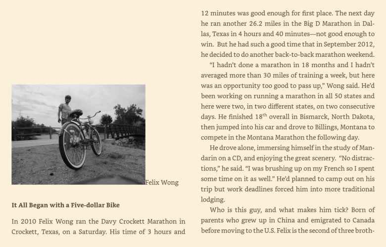 "The start of the chapter entitled ""It all began with a five-dollar bike"" in Libby James' book, Still Running."