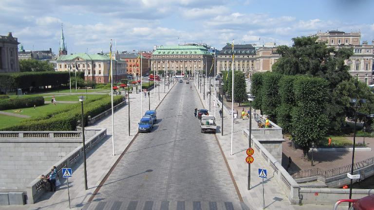Norrbro Street, as seen from the Royal Palace. (July 25, 2013)