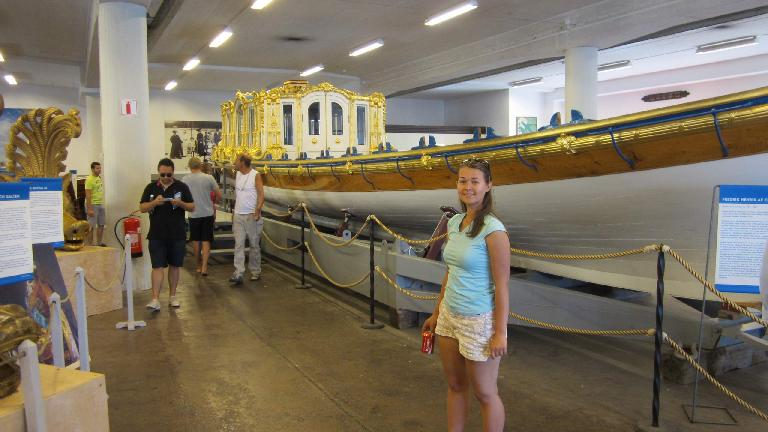 Katia in a ship museum southeast of the Vasa Museum. (July 28, 2013)