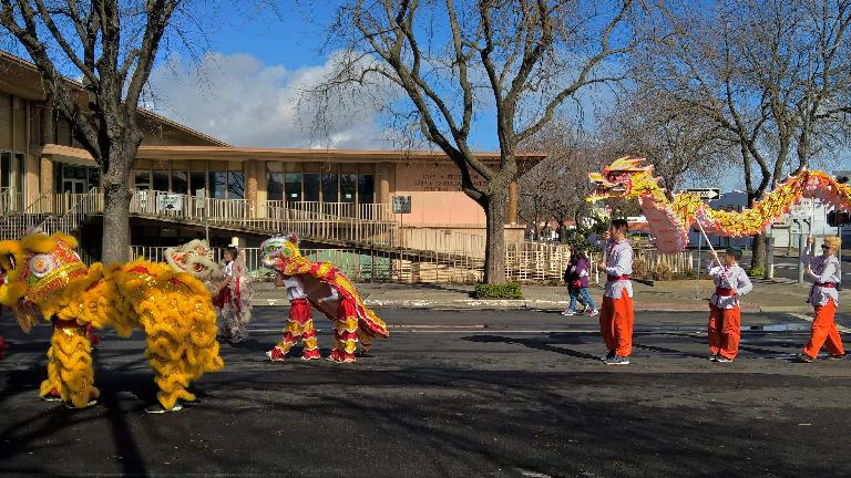 Lion and dragon in the 2017 Stockton Chinese New Year parade.