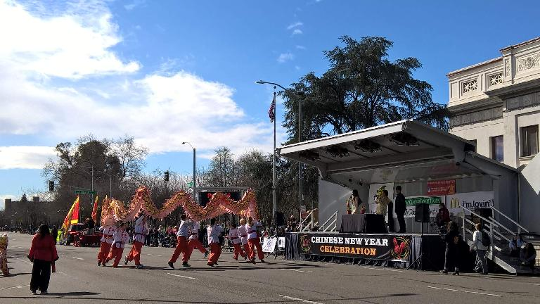 Dragon dance in the 2017 Stockton Chinese New Year parade.