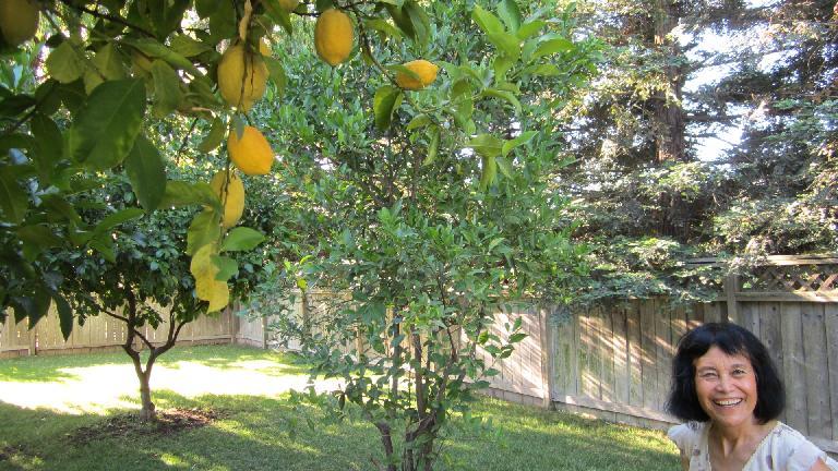 Mom and a lemon tree.