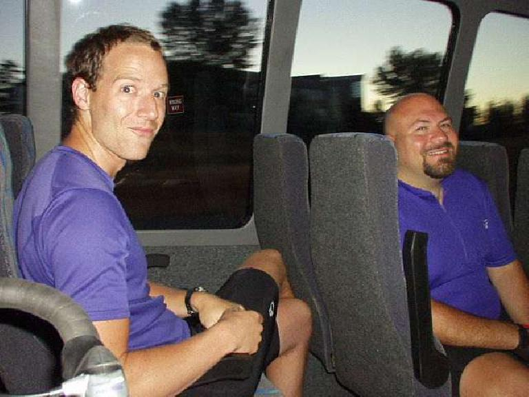 Kevin and Mike on the bus.  As you can imagine, there was plenty of room for the three of us AND our bikes! (July 12, 2003)