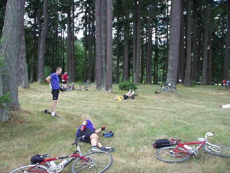 [Day 1, Mile 87, 1:32 p.m.] This was another great STP mini-stop, in Tenino.  We stayed here a long time, taking a nap among the trees. (July 12, 2003)