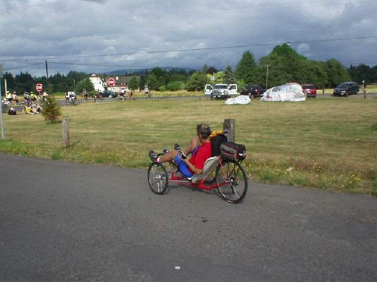 [Day 2, Mile 146, 9:07 a.m.] Another racing trike!  There were many! (July 13, 2003)
