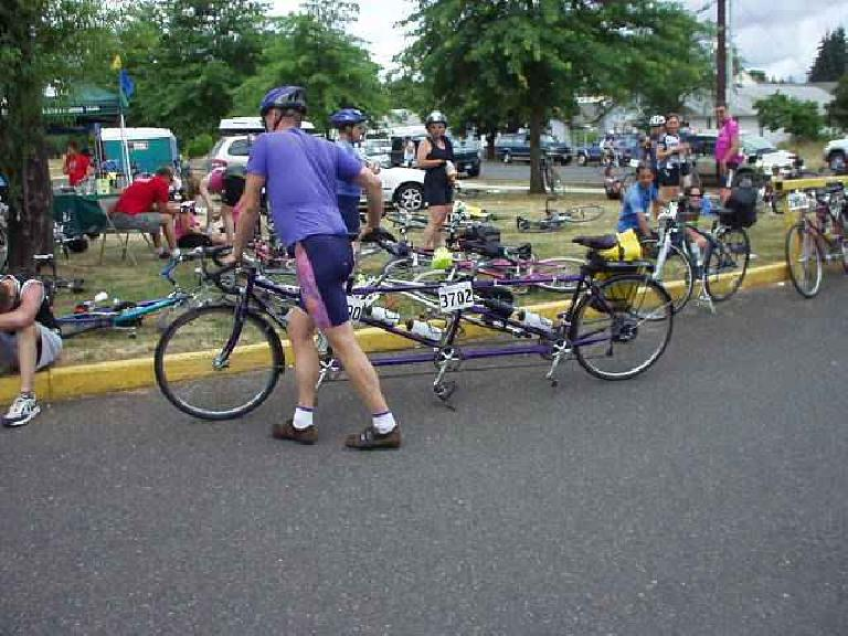 [Day 2, Mile 176, 1:14pm] A bicycle for THREE people... what do you call that? (July 13, 2003)