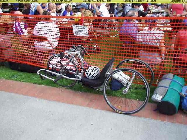 A hand-cycle.  There were quite a few of these on the course!  But the most impressive cyclist was a guy on a large unicycle, who finished the entire ride about an hour after us! (July 13, 2003)