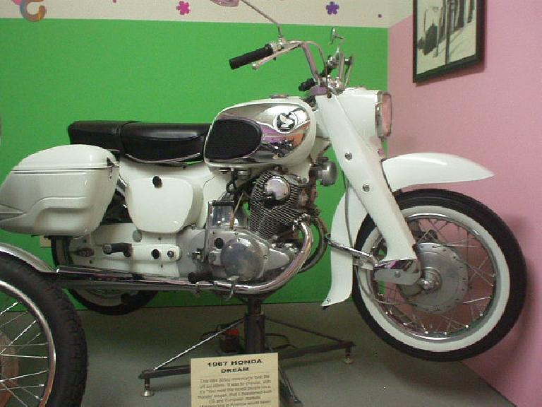 A Honda Dream from the 1960s, one of the most popular motorcycles in the world.