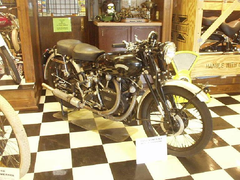 A Vincent Black Shadow from the 1950s, one of the fastest motorcycles at the time.  I am glad I got to see the bike that Peter Egan so coveted!