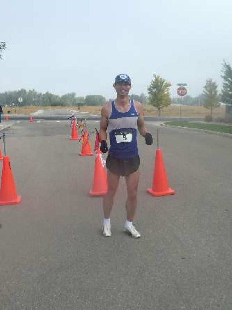 Finishing first in the Second Wind Fund Suicide Prevention 5k Run.