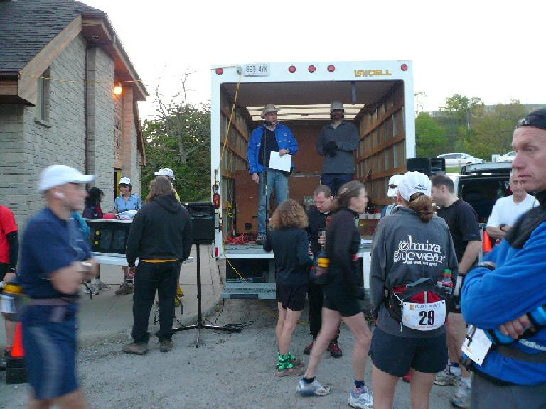 Director John gives a pre-race pep talk.