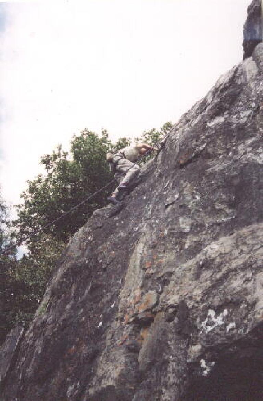 Sarah now on the climb.  Go, Sarah!
