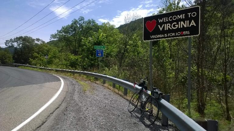 black 2010 Litespeed Archon C2, Welcome to Virginia, Virginia is for Lovers sign