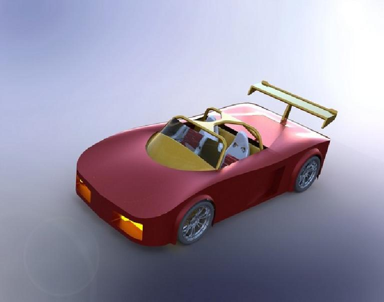 Verislav Mudrak downloaded my supercar and re-rendered it.  I like it---looks a bit more photo-realistic than mine.