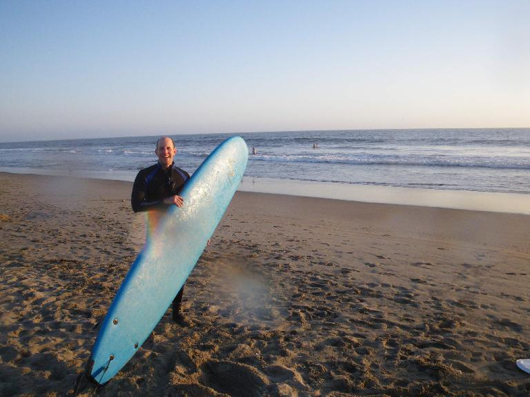 Adrian with the useless surfboard.