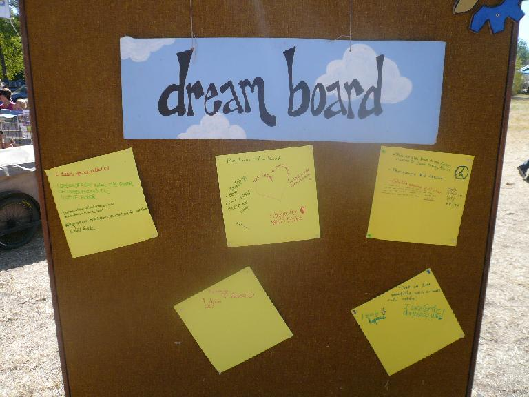 """The dream board included people's thoughts such as, """"I dream of when the power of love outweighs the love of power."""""""