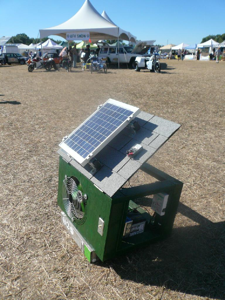 A solar-powered attic fan.