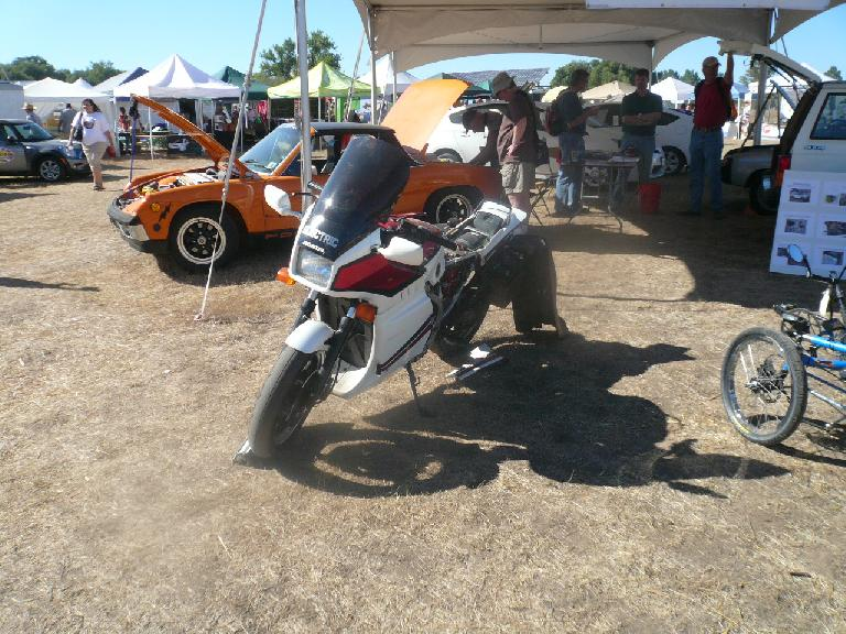 An electric-converted motorcycle.
