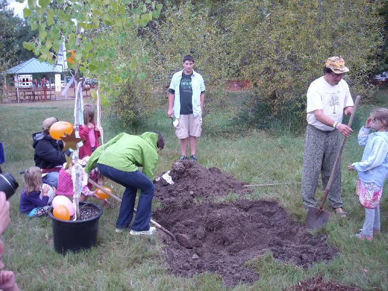 Sarah helped out with the planting of a cottownwood tree at Legacy Park.