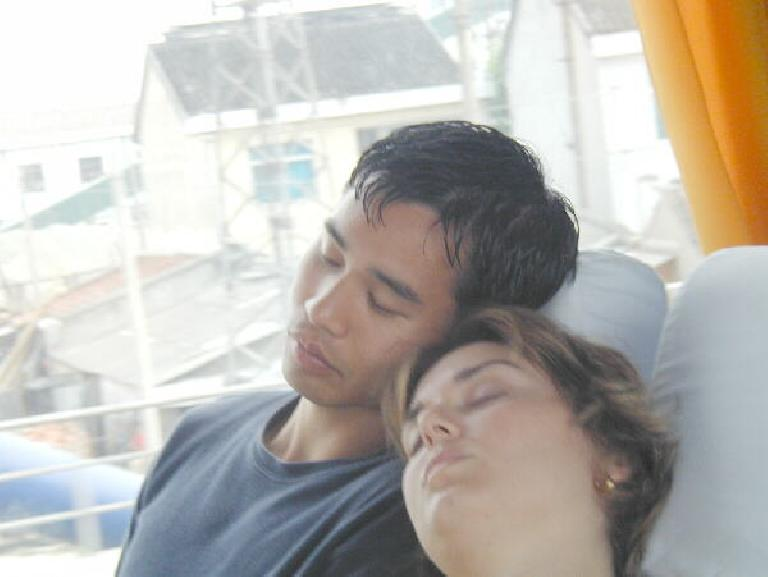 Caught, napping: Felix Wong and Karen together on the bus to/from Suzhou. Photo: John Taylor.